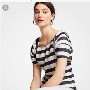 Ann Taylor Striped lantern sleeve blouse